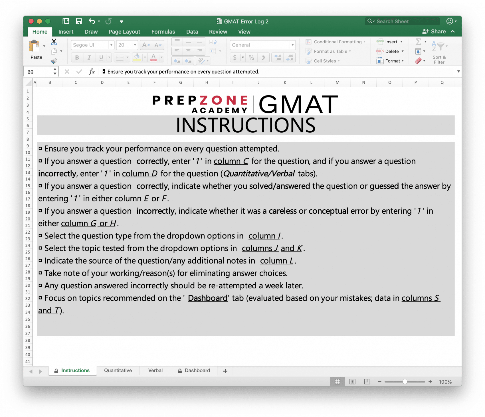 Excel Error Log: Use This GMAT Error Log To Score 700+ On The GMAT